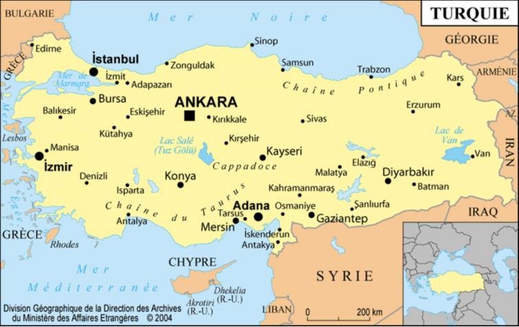 Plan général de la Turquie avec Istanbul