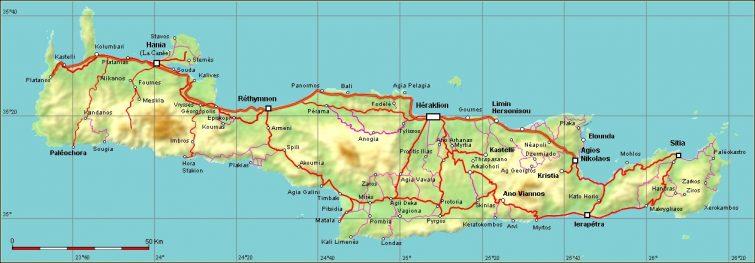 Χάρτης διαδρομών στην Κρήτη