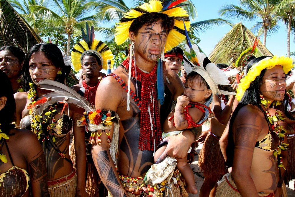 Jeux indigènes au village Coroa Vermelha, à Santa Cruz Cabralia