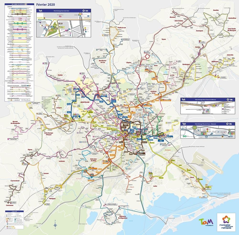 Carte des transports de Montpellier Méditerranée Métropole