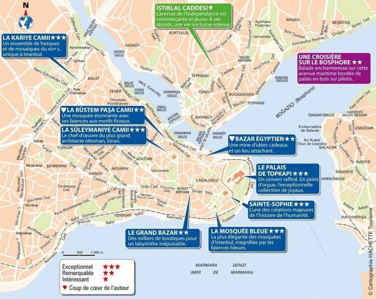 Plan détaillé des monuments Istanbul