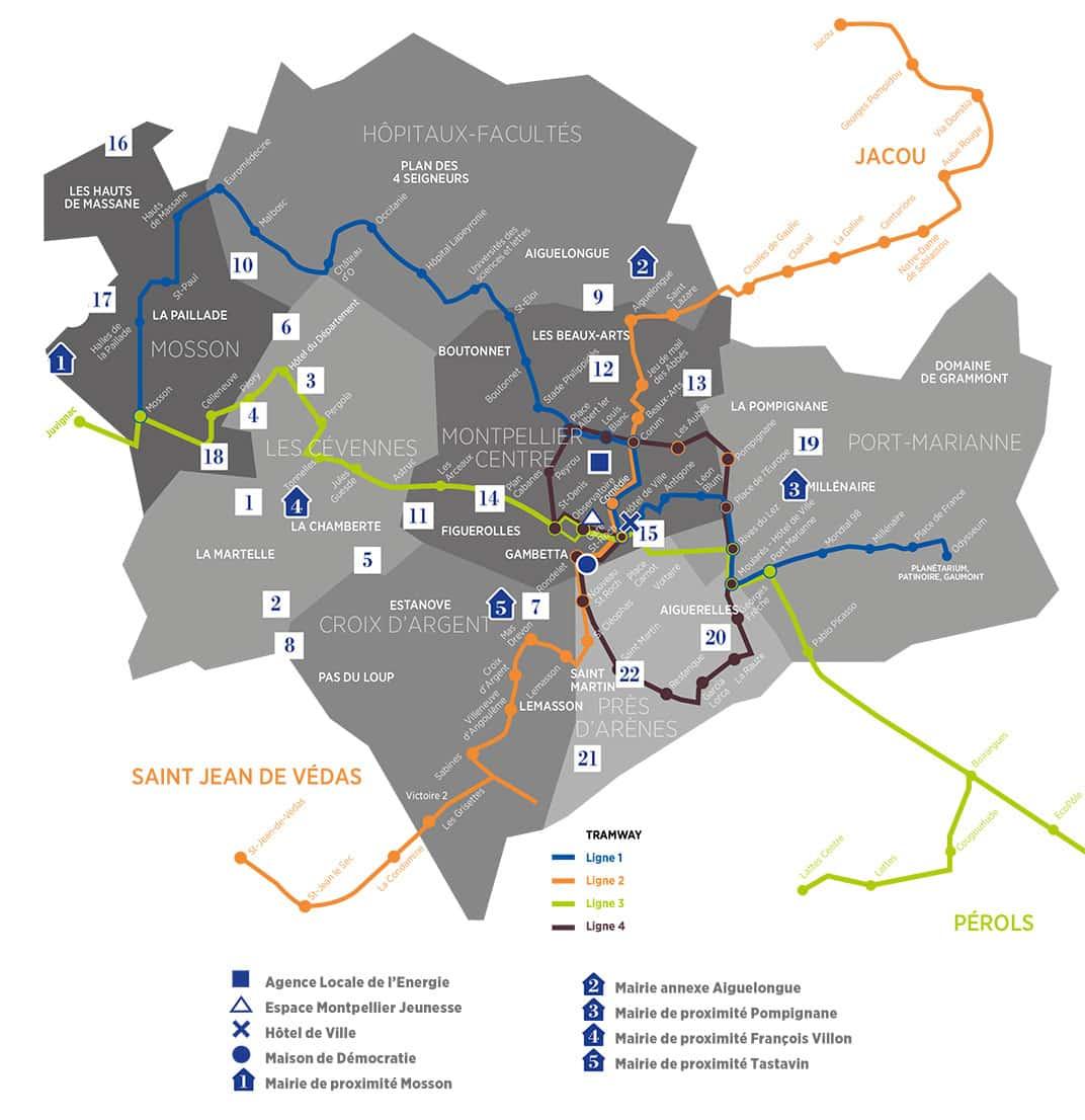 Carte des quartiers à Montpellier