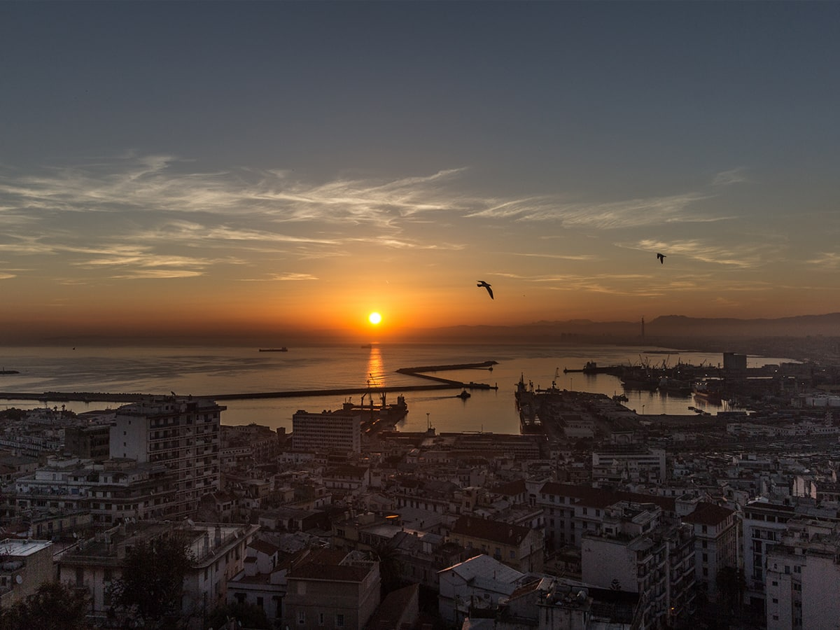 Coucher soleil baie d'Alger