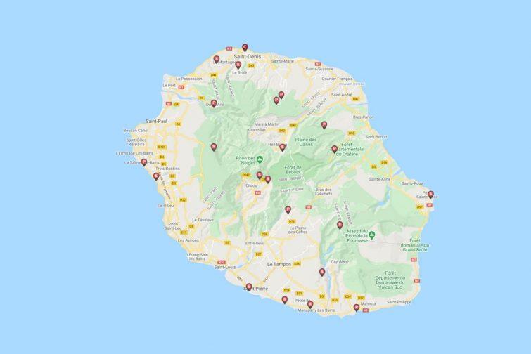 Carte Caramaps de la Réunion
