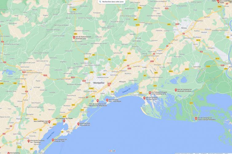 Trouver des aires de camping-car sur Google Maps